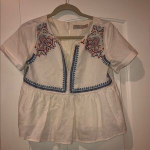 Abercrombie & Fitch   White Embroidered Shirt